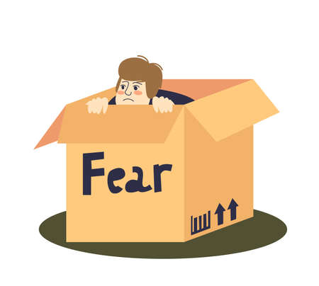 Scared man hiding in cardboard box depressed and frightened. Fear and anxiety concept Vettoriali