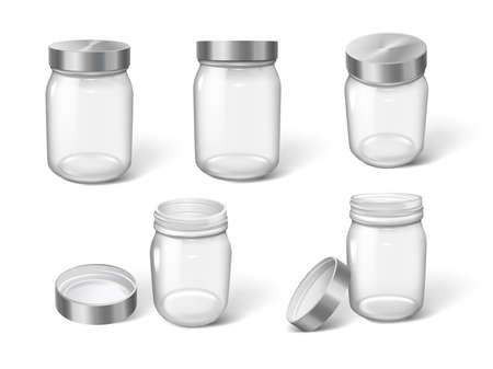 3d realistic cosmetic package jars empty transparent on white background