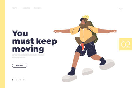 Happy couple travel together. Man carry woman on back while hiking trip Illustration