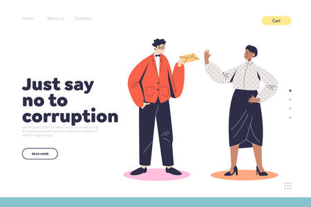 Say no to corruption landing page with female judge or teacher refusing to take bribe in envelope Illusztráció
