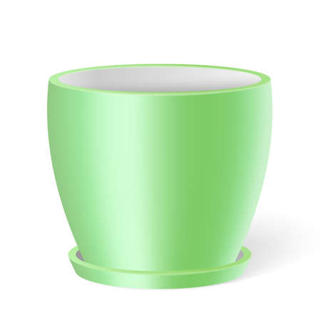 Cute 3d flower pot in green with shadow on white background. Flowerpot template