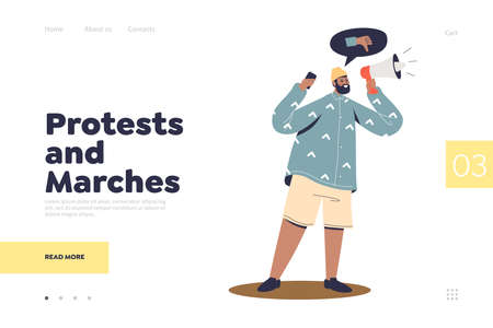 Protests and marches landing page concept with activist speaking in loudspeaker at demonstration