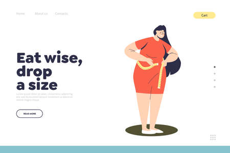 Weight loss landing page concept with plus size woman measure waist with measuring tape