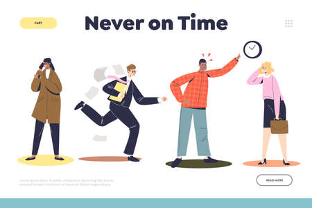 Never on time landing page with angry businessman boss and workers being late