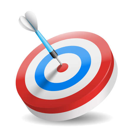 Business and sports concept with 3d dart arrow in bullseye isolated