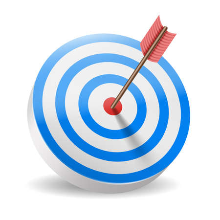 Traditional archery target with blue rings and red arrow in bullseye