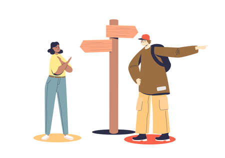 Man and woman choosing direction standing on crossroad with arrows on road sign