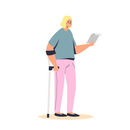 Young girl standing on crutch hold disability allowance documents