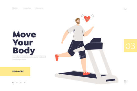 Move your body landing page concept with man running on treadmill and measuring pulse