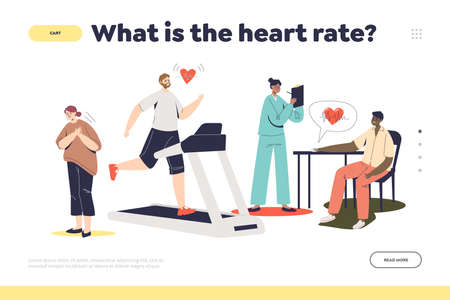 Heart beat landing page concept with people measuring pulse and having pain in heart