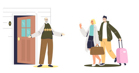 Young couple visiting senior dad. Man and woman with luggage come to see old father Illustration