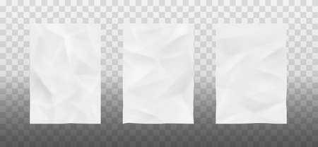 White bad glued paper realistic. Set of wet wrinkled and creased paper sheets with crumpled texture