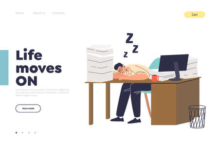 Life and work concept of landing page with tired worker sleeping at office desk
