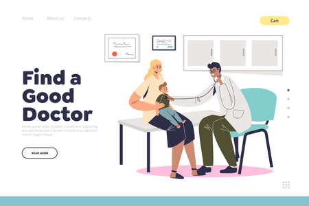 Find good doctor concept of landing page with mother and son visiting pediatrician Vector Illustration