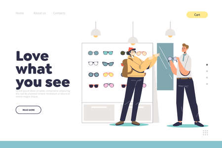 Eyesight and glasses concept of landing page with hipster man in optics store buy eyeglasses Vettoriali
