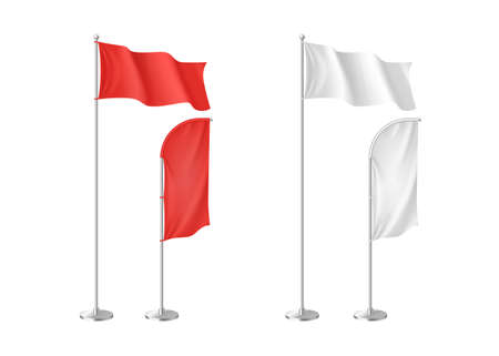 Set of realistic white and red advertising textile flags and banners isolated template