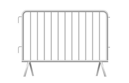 Grey metallic fence. Urban portable metal barrier isolated on white background