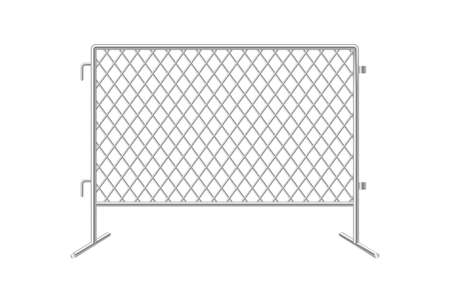 Chain link fence. Fences made of metal wire mesh on white background.