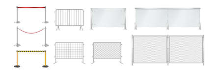 Set of portable fences: glass and metal barriers, belt and rope control isolated