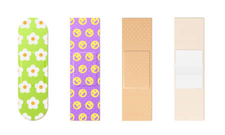 Adhesive bandage set. Elastic medical plasters and patches classic and colorful for kids