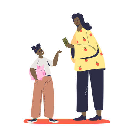 Mother giving her kid pocket money for saving in piggy bank teaching of saving money