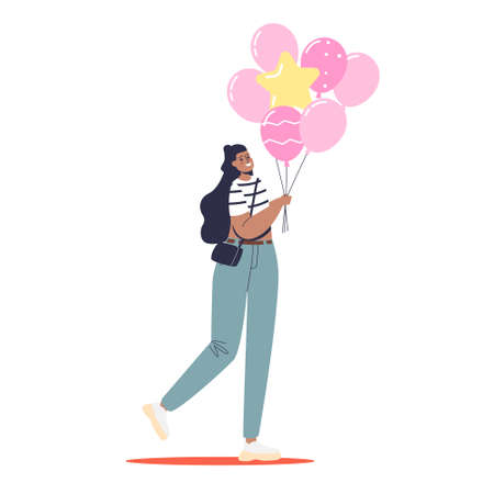 Young woman holding pink balloons bunch. Beautiful girl with air balloons