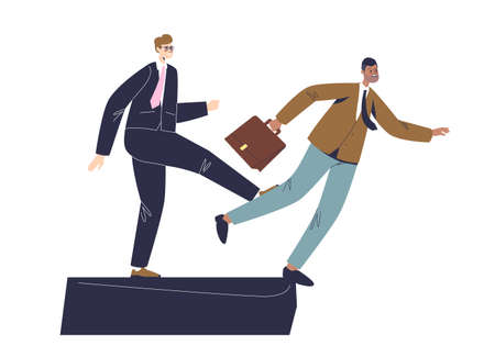 Businessman stumbling on partner foot. Business betrayal and lie concept