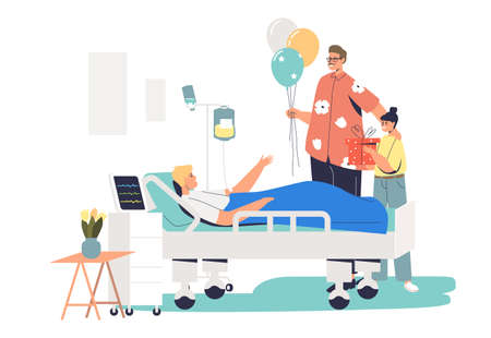 Family visiting patient in hospital during recovery. People with balloons at sick man bed 矢量图片