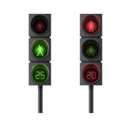 Pedestrian traffic lights with red and green light and timing for movement regulation