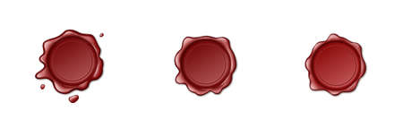 Stamp wax seal icons set on white background. Realistic empty red sealing wax for stamps labels