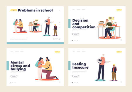 Problems in school set of landing pages with concept of violence, abusing, bullying and pressure