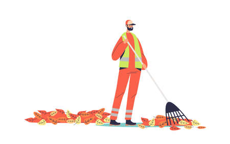 Janitor in uniform sweeping yellow leaves on street with broom. Cartoon street cleaner worker