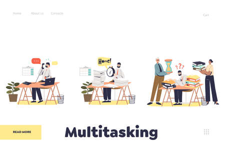 Multitasking business people concept of landing page with office managers busy at workplace