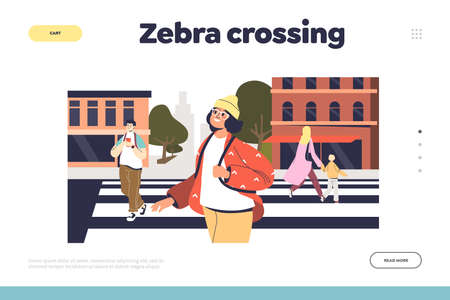 Zebra crossing concept of landing page with group of people on crosswalk walking to other street side