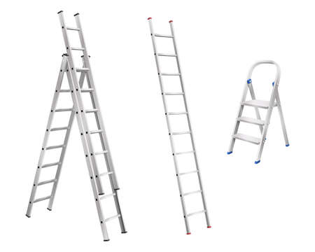 Realistic metal ladders. Set of step ladder and stair cases for household on white background