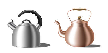 Realistic teapots set. Whistling kettle and retro copper teakettle for boiling water on stove Vector Illustratie