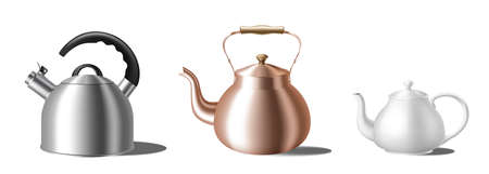 Set of realistic kettles. Different teapots: with whistle, copper and white ceramic teakettles