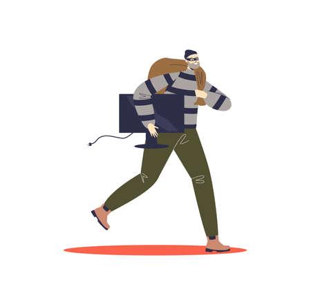 Criminal running with stolen tv after housebreaking robbery. Cartoon burglar escaping