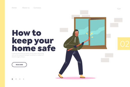 Keep home safe from burglary concept of landing page with burglar breaking in house through window Vecteurs