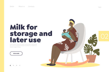 Milk formula for storage and later use landing page with woman feeding newborn baby from bottle Vetores
