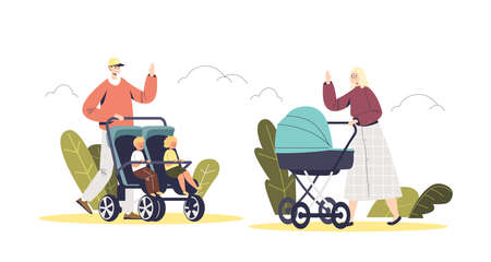 People walk with baby strollers in park. Father and mother pushing carriages with little kids