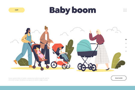 Baby boom landing page with group of happy mothers with infant kids in strollers walk in park