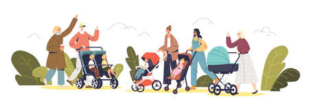 Young parents walking with newborn and preschool kids in carriages and strollers in park