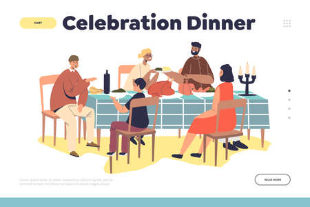 Celebration dinner concept of landing page with family gathering for thanksgiving day feast