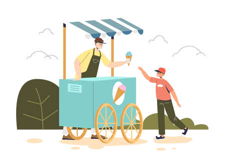 Little boy buy ice cream at outdoor kiosk cart. Cute child eat summer dessert while walk