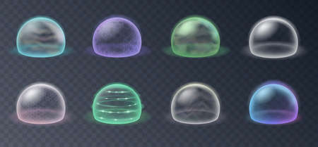 Bubble shields, protection force fields. Realistic set of safety energy barrier, defense spheres