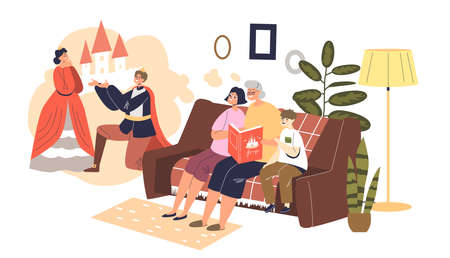 Reading to grandchildren: grandma with book telling fairy story to small boy and girl Ilustración de vector