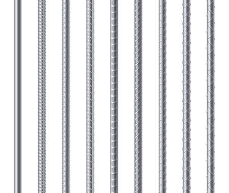 Rebars, metal reinforcement steel rods isolated on white background. Construction metal armature