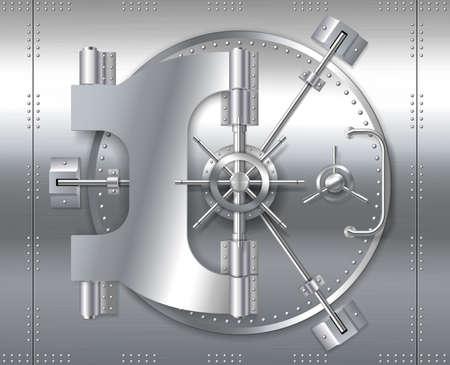 Bank safe vault door, realistic metal steel round gate mechanism to bunker room Vettoriali