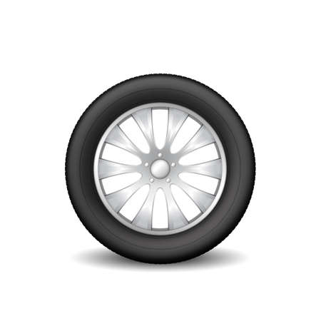 Car tire wheel isolated on white background. Realistic rubber protector and metal disk Vettoriali